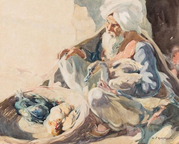 BURTON Nancy Jane R.S.W (1891-1972) - 'Old Villager', Rawalpindi.