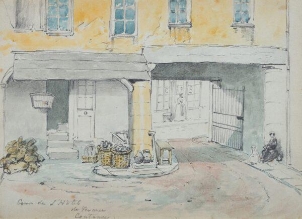 BUSS Robert William (1804-1875) - 'Coutances: Cour de l'Hotel de France'.