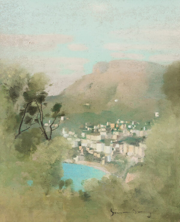 BUSSY Simon (1870-1954) - 'Vue de Monte Carlo à Travers les oliviers'.