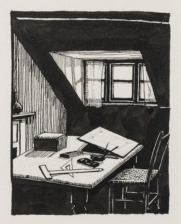 BUTCHER Enid Constance (1902-1991) - The artist's attic studio.