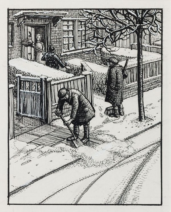 BUTCHER Enid Constance (1902-1991) - Clearing snow.