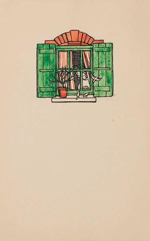 BUTCHER Enid Constance (1902-1991) - Green shuttered window and birds feeding.
