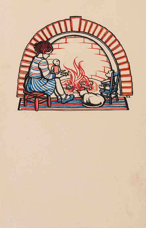 BUTCHER Enid Constance (1902-1991) - At the fires side: girl, doll, bear and cat.