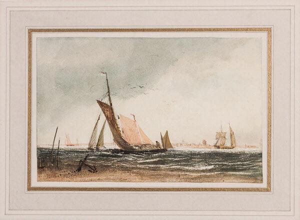 CALCOTT Sir Augustus Wall R.A. (1779-1844) - Boats off shore.