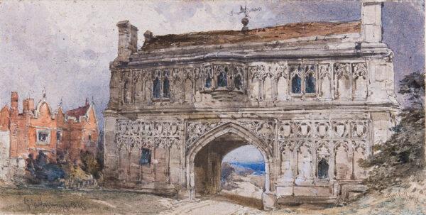 CALLOW William O.W.S (1812-1908) - 'Great Malvern'; the Priory Gatehouse.