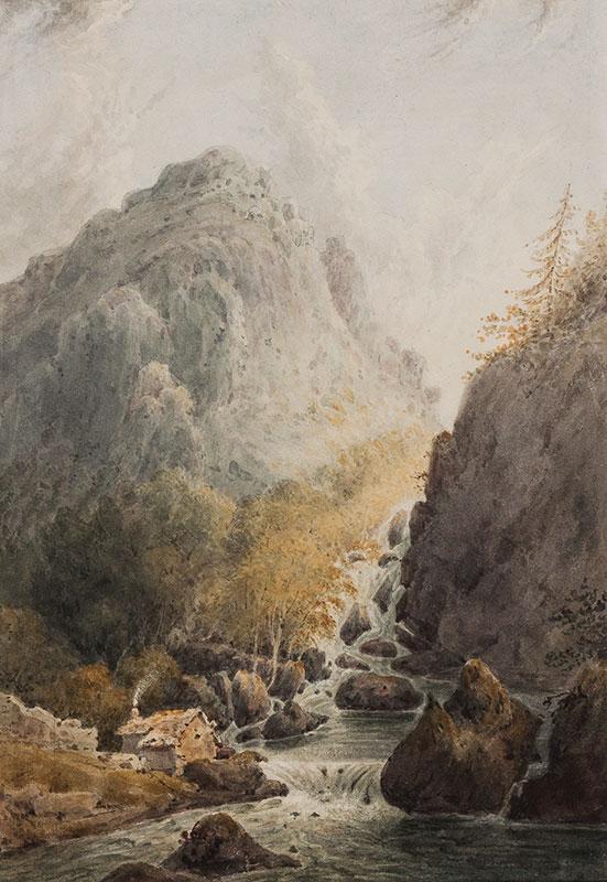 CAREY General Peter (1774-1852) - 'Lowdore Waterfall' (sic) Watercolour.