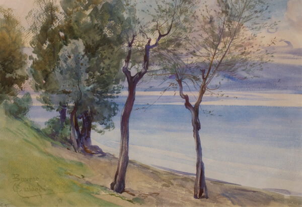 CARLANDI Onorato (1844-1939) - View of Lago Maggiore from the shore near Baveno.