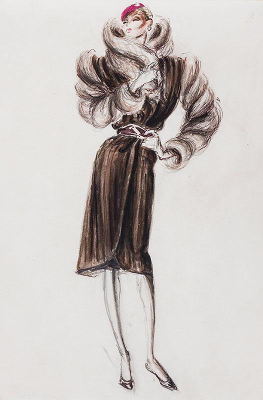 Nino CAPRIOGLIO (1926-1993) - Fashion illustrations drawn for 'an American fur company'.