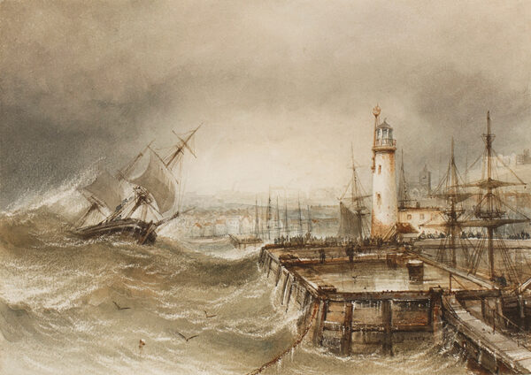 CARTER Henry Barlow (1803-1867) - The entrance to Scarborough harbour.