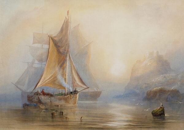 CARTER Joseph Newington (1835-1871) - 'Orgeuil Castle from the Sea, Jersey'.