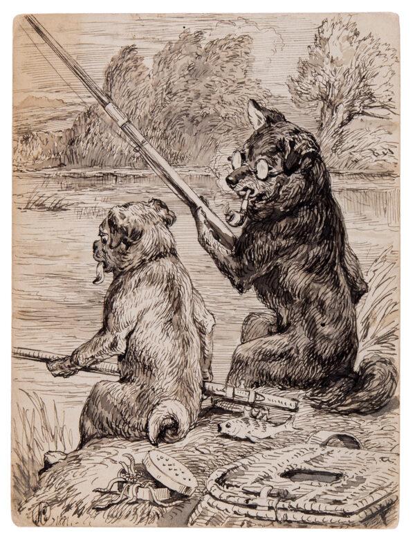 CARTER Samuel John (1835-1892) - Dogs fishing.