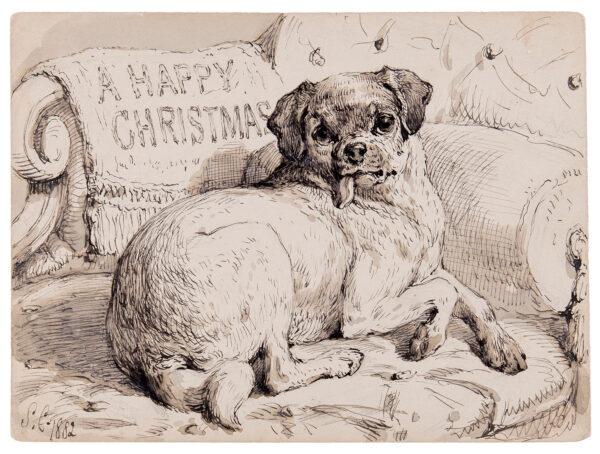 CARTER Samuel John (1835-1892) - 'A Happy Christmas' from a Pug, the sofa.