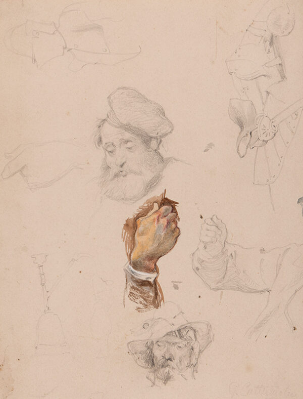 CATTERMOLE George (1800-1868) - A page of studies.