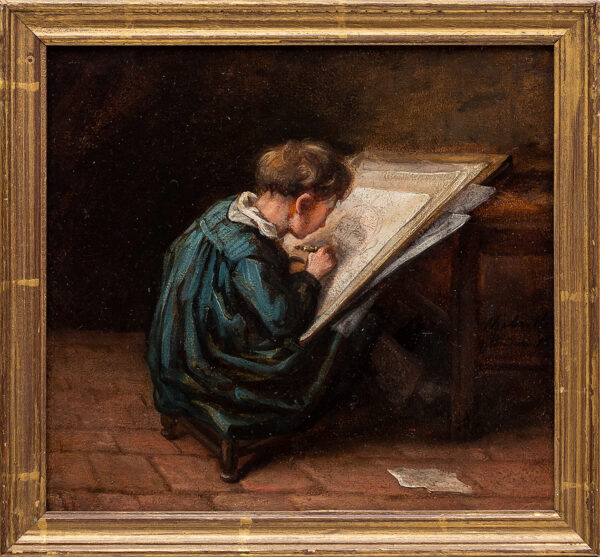 CHABRILLAC Charles Raymond (1804 - ?1882) - 'Le Petit Dessinateur' Oil on card.