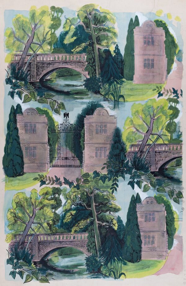 CHANT Marie M.S.I.A. (mid C20th) - Design for a fabric: Gatehouse and Bridge.
