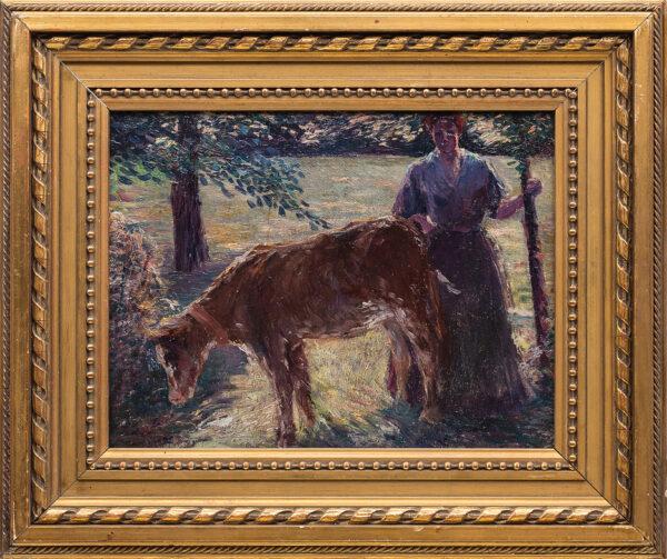 CHARLES James (1851-1906) Circle of - The milkmaid.