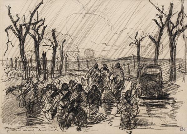 CHEFFER Henri-Lucien (1880-1957) - 'Attaque a La Malmaison, 1917 / prisonniers allamends allant vers l'arriere'.