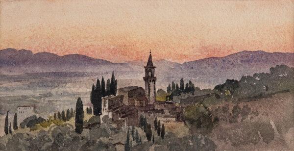 CHENEY (Robert) Henry (1801-1866) - 'Chiesa de Castello from La Petraia, sunset, August 14', Florence.