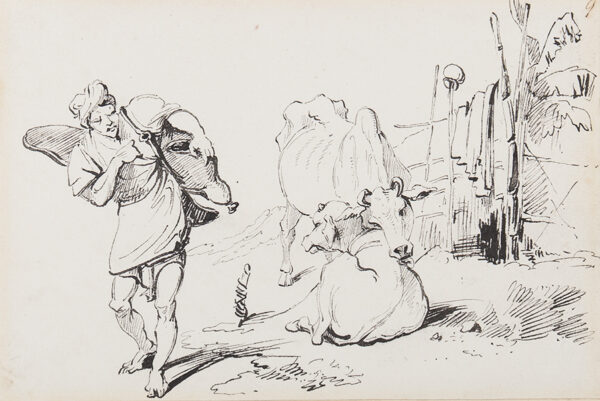 CHINNERY George (1774-1852) - Cattle and water carrier.