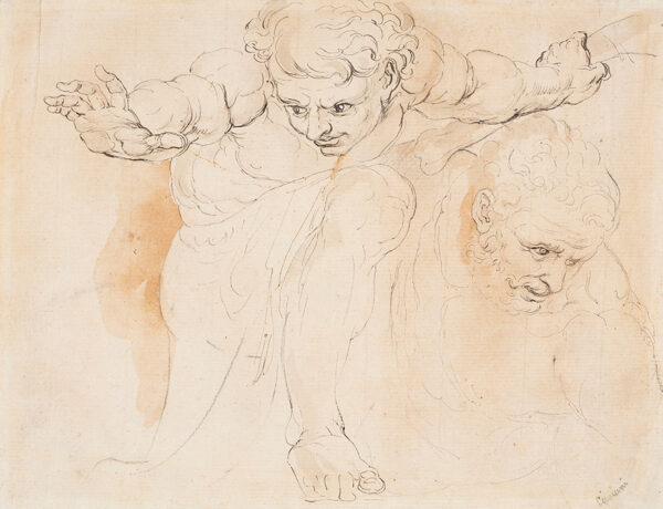 CIPRIANI Giovanni Battista (1727-1785) (Circle of) - Studies of foreshortened figures; possibly 'Hercules'.