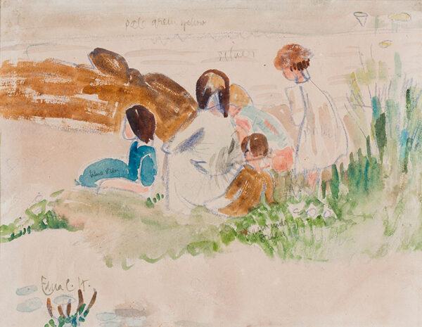 CLARKE HALL Edna (1879-1979) - Children on the beach, Gillan Cove, Cornwall.