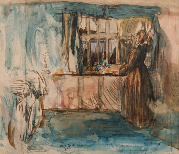 CLARKE HALL Edna (1879-1979) - Cathy 'At the window': a 'Wuthering Heights' subject.