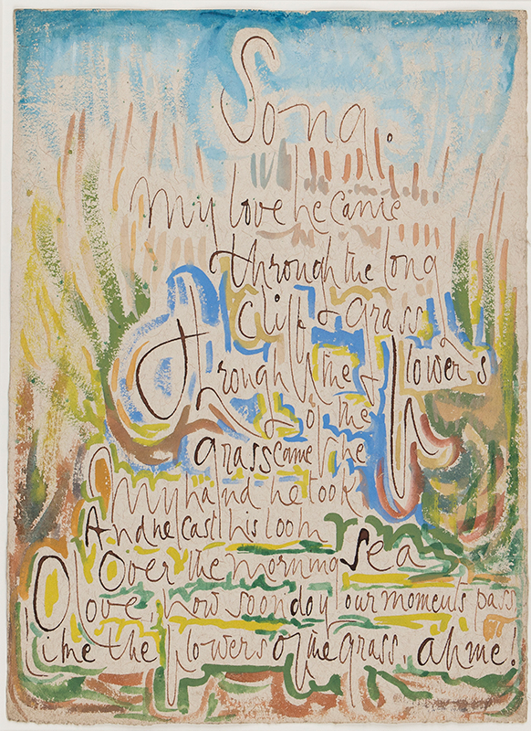 CLARKE HALL Edna (1879-1979) - 'My Love he came / through the long cliff grass…' Ink, watercolour and gouache.