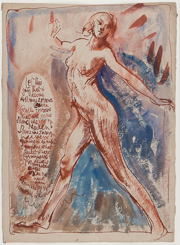 CLARKE HALL Edna (1879-1979) - 'Let this joy that is devine…' Ink, watercolour and gouache.
