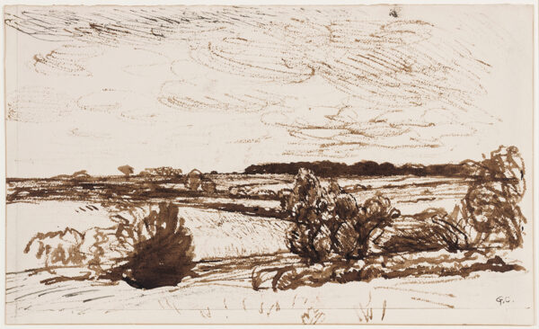 CLAUSEN Sir George R.A. (1852-1944) - Windblown landscape.