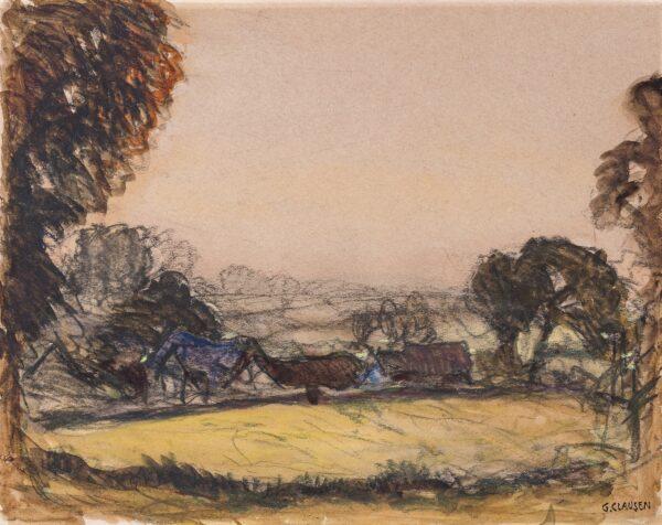 CLAUSEN Sir George R.A. (1852-1944) - Autumn landscape.