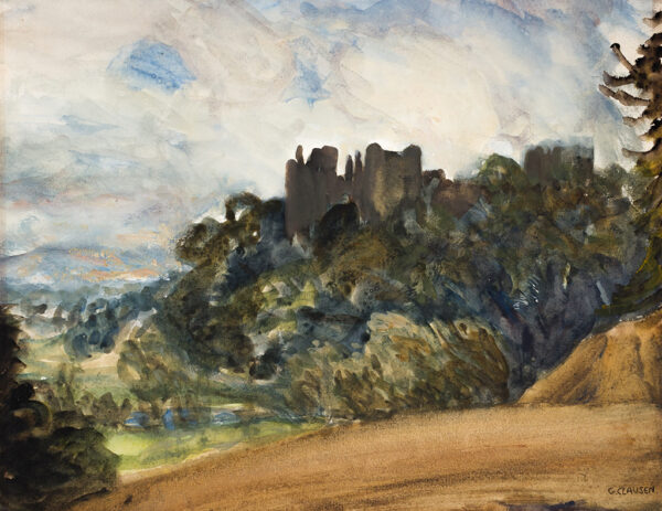 CLAUSEN Sir George R.A.  R.W.S. (1852-1944) - Ludlow Castle from the South East.
