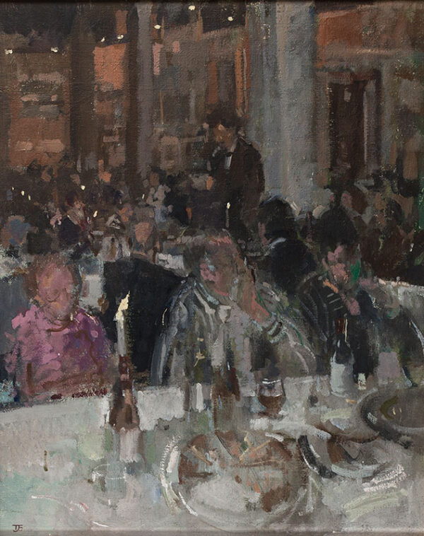 COATES Tom P.P.R.W.S N.E.A.C (b.1941) - 'Evening at the Bankside Gallery – Maurice Sheppard giving his last speech as President of the R.