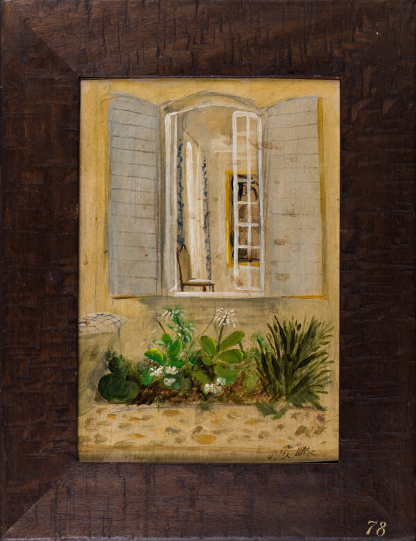 COBBE Alec (b.1945) - Flower bed and open window.