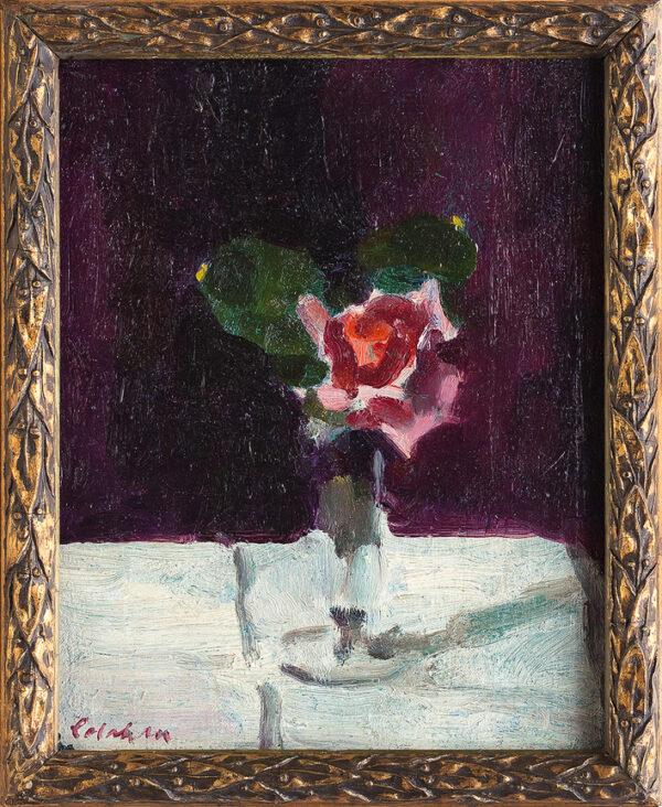 COLAHAN Colin (Australian) (1897-1987) - Rose on a white clothe.