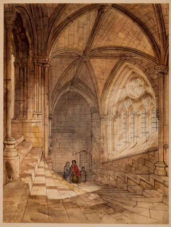 COLE Edward Sherrat (1817-1905) - Wells Cathedral: the Chapter House stairs leading to the North Transept.