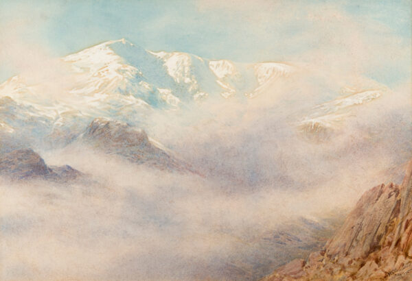 COLLINGWOOD William Gershom (1854-1932) - 'Coniston Old Man from the top of Large Crags: Mist clearing'.