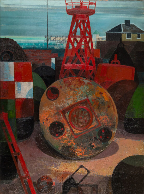 COLLINS Henry (1910-1994) - 'Repair Yard, Harwich' Oil on canvas.