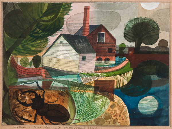 COLLINS Henry (1910-1994) - 'Stag Beetle and Essex Mill - Night'.