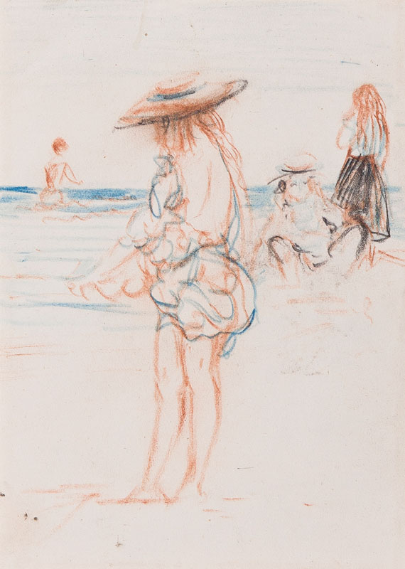 CONDER Charles N.E. A.C. (1868-1909) - Girls on a beach, possibly Swanage.