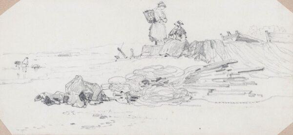 COOKE Edward William R.A. (1811-1880) - Fisherwomen on the beach at Newlyn.
