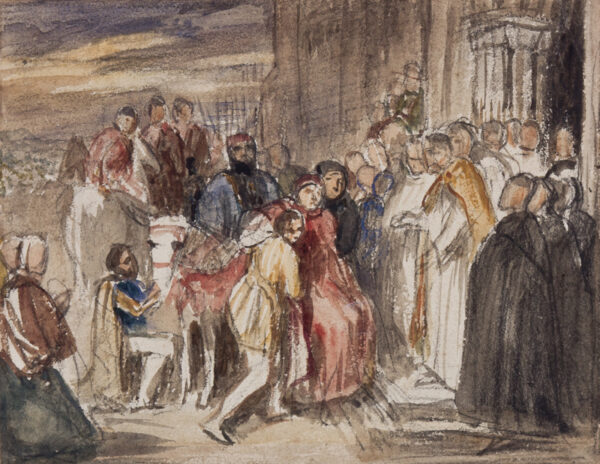 COPE Charles West R.A. (1811-1890) - 'Cardinal Wolseley at the Gate of Leicester Abbey'.