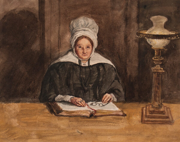 COPE Charles West R.A. (1811-1890) - 'Old Mrs Atkinson / May's Grandmother / sketched at candlelight from Nature'.