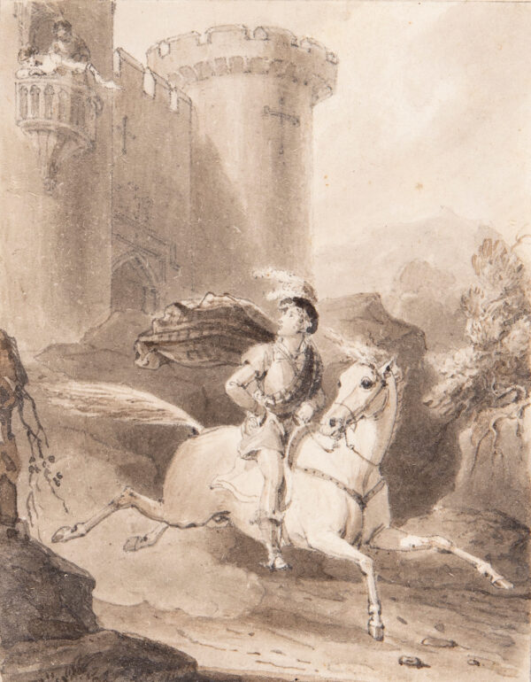 CORBOULD Henry (1787-1844) - 'He came, he passed – an heedless gaze / As o'er some stranger, glancing…' Pen, brush and sepia ink to illustrate 'The Maid of Neidpath', vol.