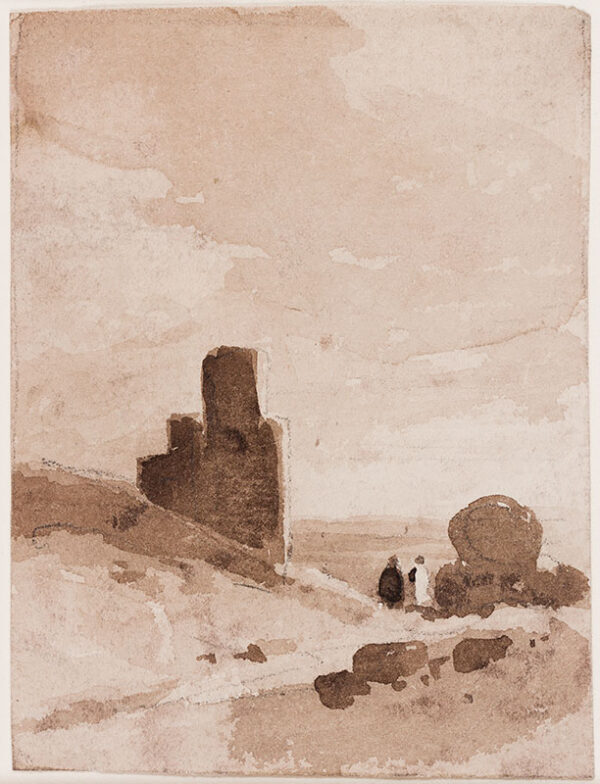 COTMAN John Sell O.W.S. (1782-1842) (Circle of) - Two figures by a Tower.