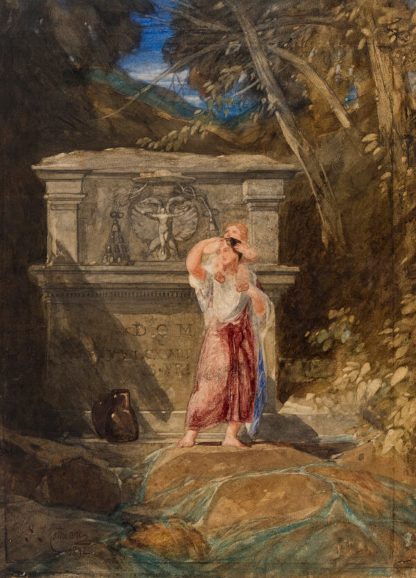 COTMAN John Sell (1782-1842) - 'Italian Peasant at a fountain in the Valley of Corriati'.