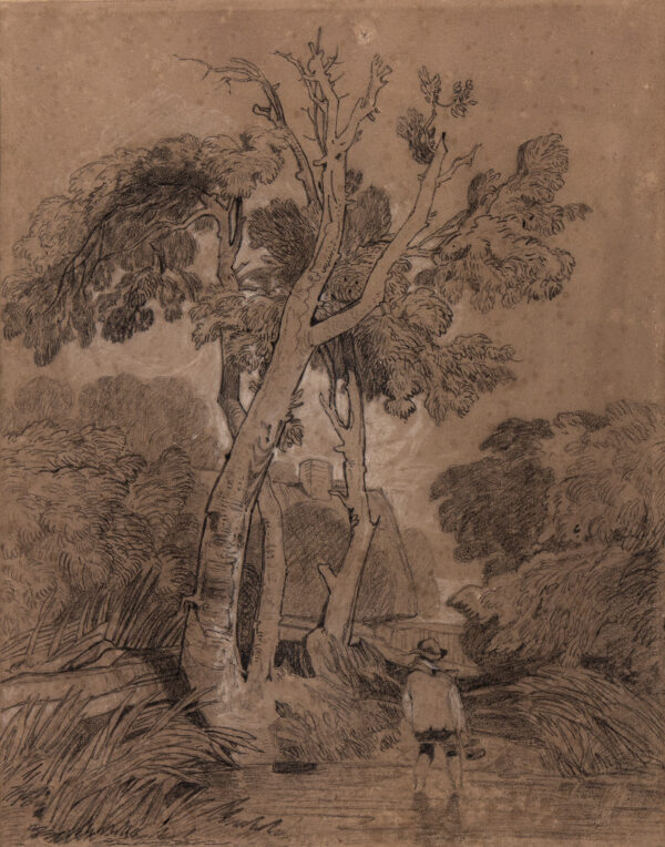 COTMAN John Sell (1782-1842), and pupil, possibly a member of the Turner family. - Tree-lined stream.