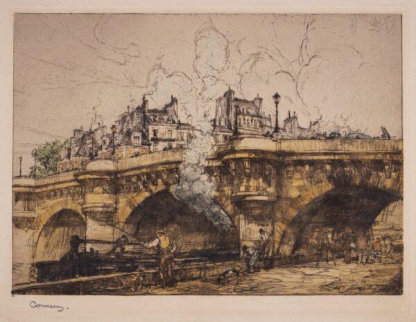 COUSSENS Armand (1881-1935) - Paris: fishermen under the Pont Neuf.
