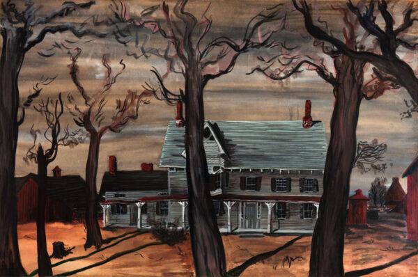 COWLES Fleur Fenton Pettingell (1908-2009) - Connecticut clapboard farm – winter.