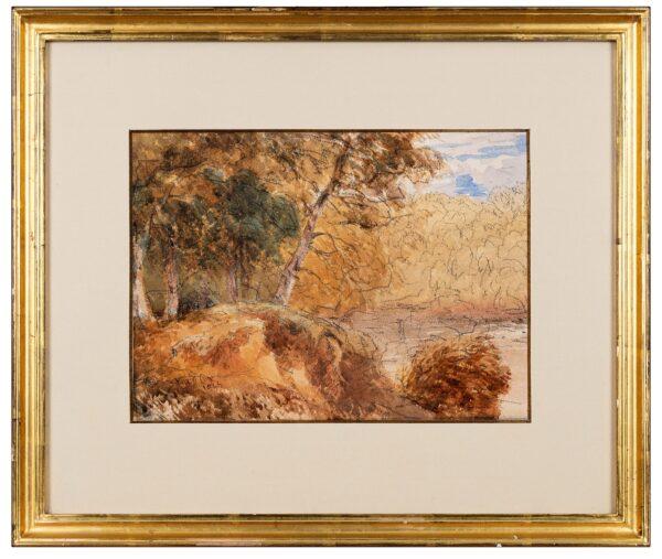 COX David O.W.S. (1783-1859) - Woodland study Chalk and watercolour.