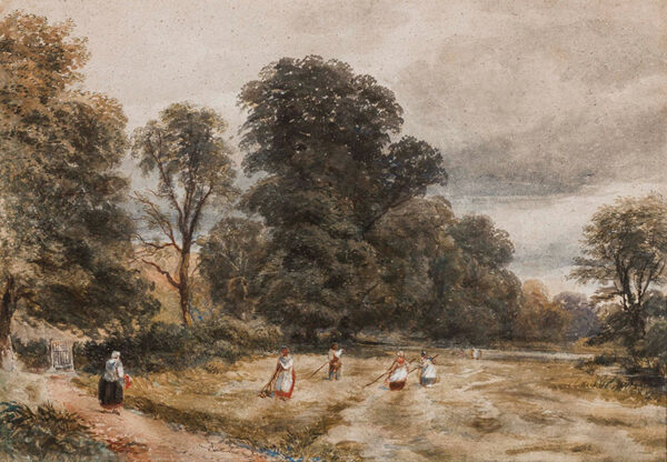 COX David Jnr A.R.W.S. (1809-1885) - 'Kent'; harvesting hay.